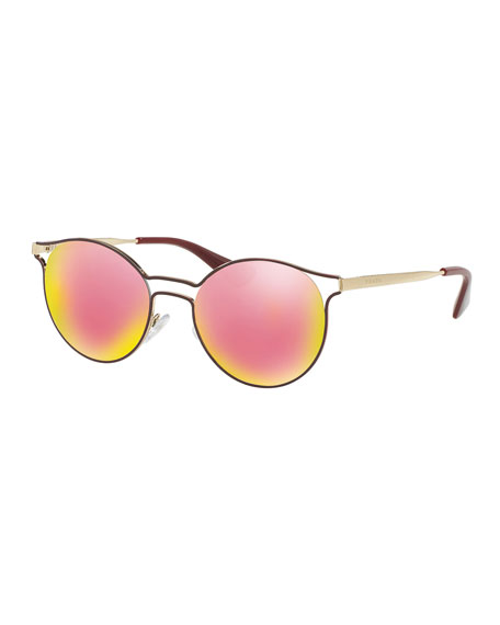 Prada Gold Frame Sunglasses : Prada Round Metal Open-Inset Sunglasses, Bordeaux/Gold