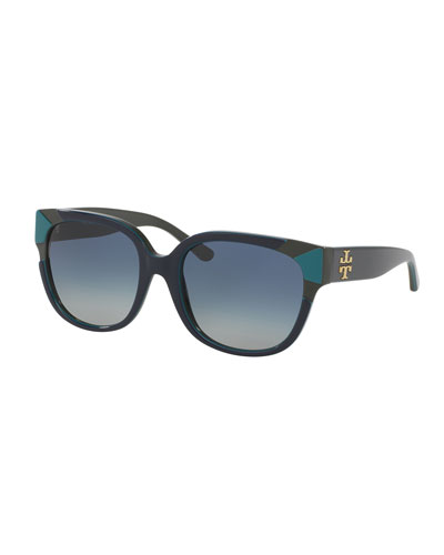 Square Notched-Trim Sunglasses, Navy