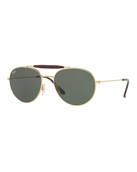 Mirrored Round Brow-Bar Sunglasses, Green/Gold