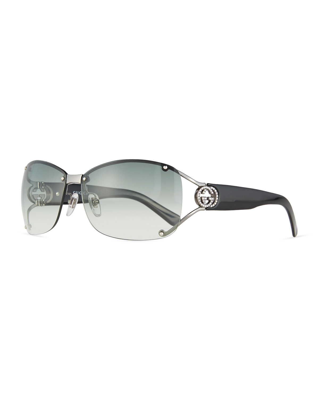 822688b4f01 Gucci Sunsights Rimless Gradient Square Sunglasses