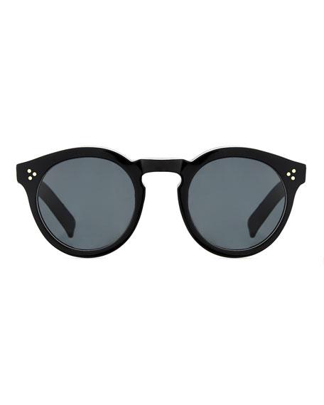 Leonard Round Mirrored Sunglasses, Tortoise/Blue
