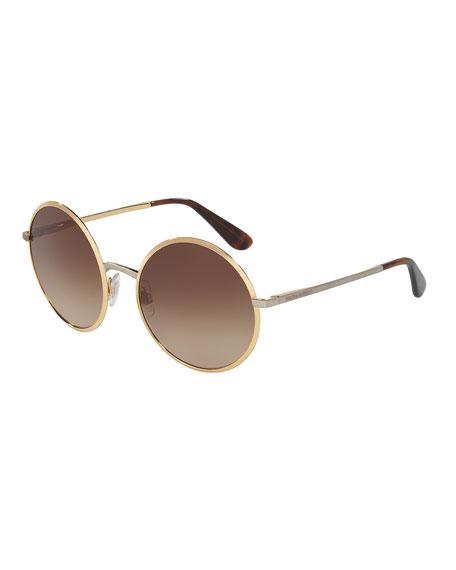 Dolce & Gabbana Gradient Round Sunglasses, Gold