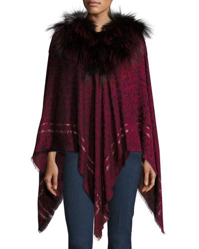 Leopard-Print Fur-Trim Poncho, Crimson