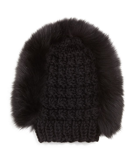 Fox Fur Mohawk Beanie, Black