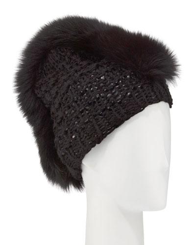 Fox Fur Mohawk Beanie, Black