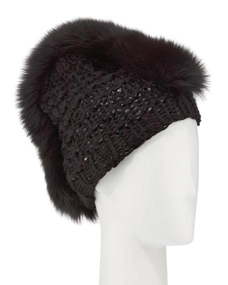 Gigi Burris Fox Fur Mohawk Beanie, Black