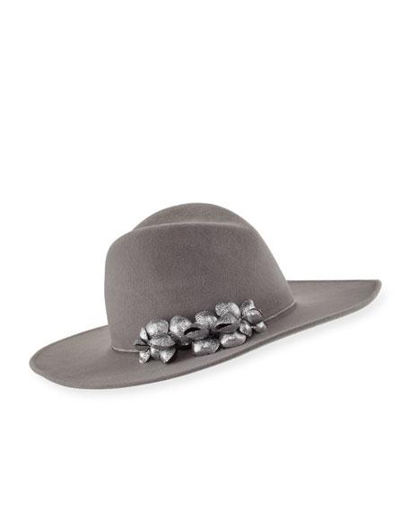 Jeanne Felted Wool Hat, Gray/Silver