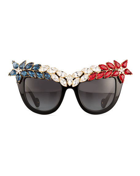 Decadence All American Swarovski® Cat-Eye Sunglasses, Red/White/Blue