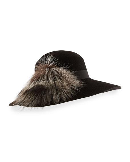 Felted Floppy Hat w/ Fox Fur, Black