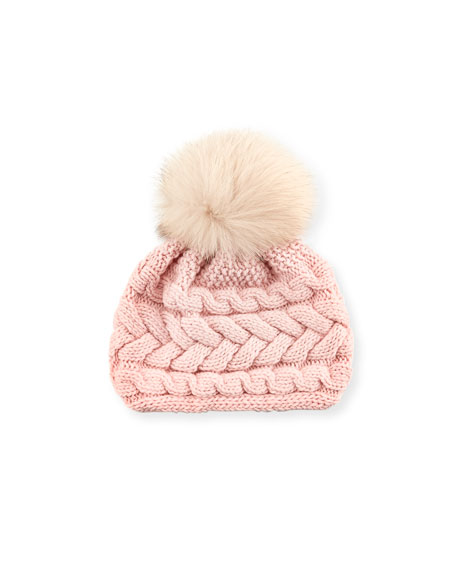 Cashmere Cable-Knit Beanie, Pink/Beige