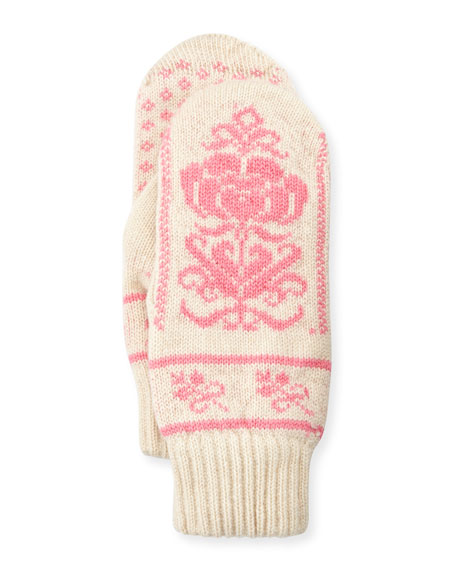 Cashmere Floral Norwegian Mittens, Ivory
