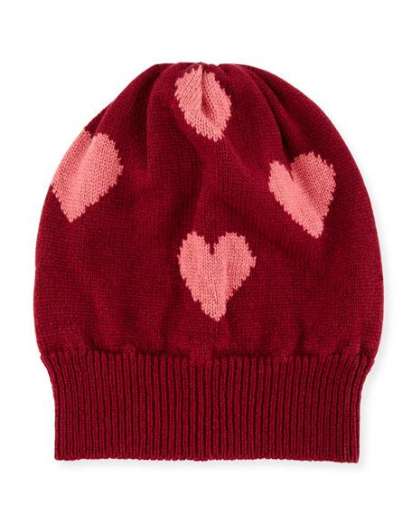Rosie Sugden Cashmere Heart Beanie Hat, Red/Pink