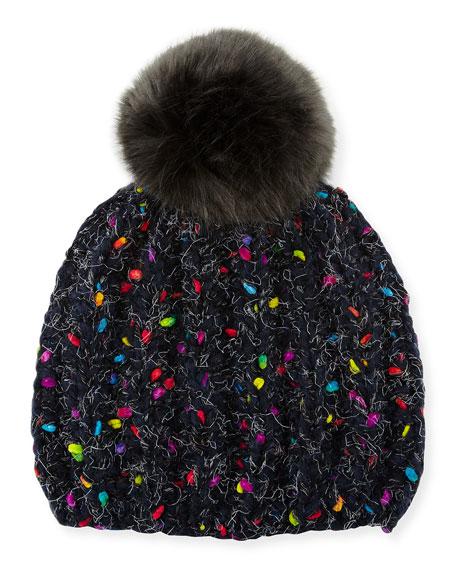 Melange Beanie Hat w/ Faux-Fur Pompom, Dark Gray