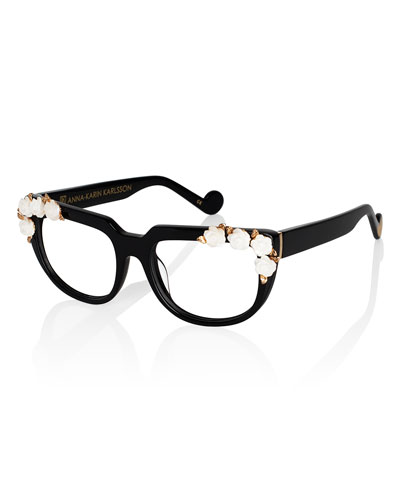 Down Lush Boulevard Square Optical Frames, Black/White