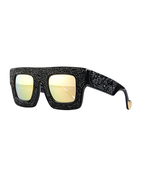 Mr. 5 AM Poems Swarovski® Shield Sunglasses, Black Crystal