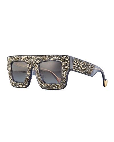 Mr. 5 AM Poems Swarovski® Shield Sunglasses, Bronze Crystal