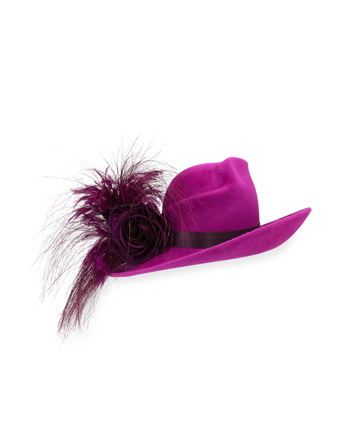 Philip Treacy Velour Feather-Spray Side-Sweep Hat cb64ba4a827a