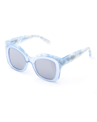 Dauphine Mirrored Flat-Lens Sunglasses, Blue
