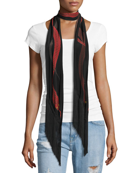 Snakes Classic Skinny Fringe Silk Scarf, Red