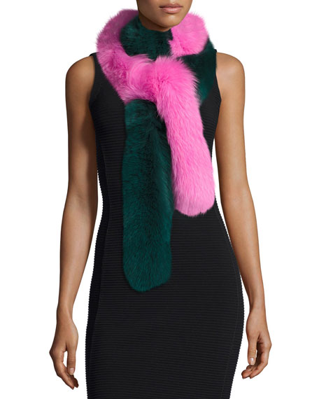 Two-Tone Fox Fur Candy Cane Scarf, Green/Pink