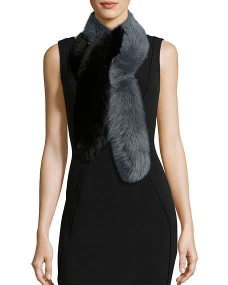 Charlotte Simone Two-Tone Fox Fur Candy Cane Scarf,