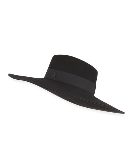 Maison Michel Fara Classic Felt Hat, Black