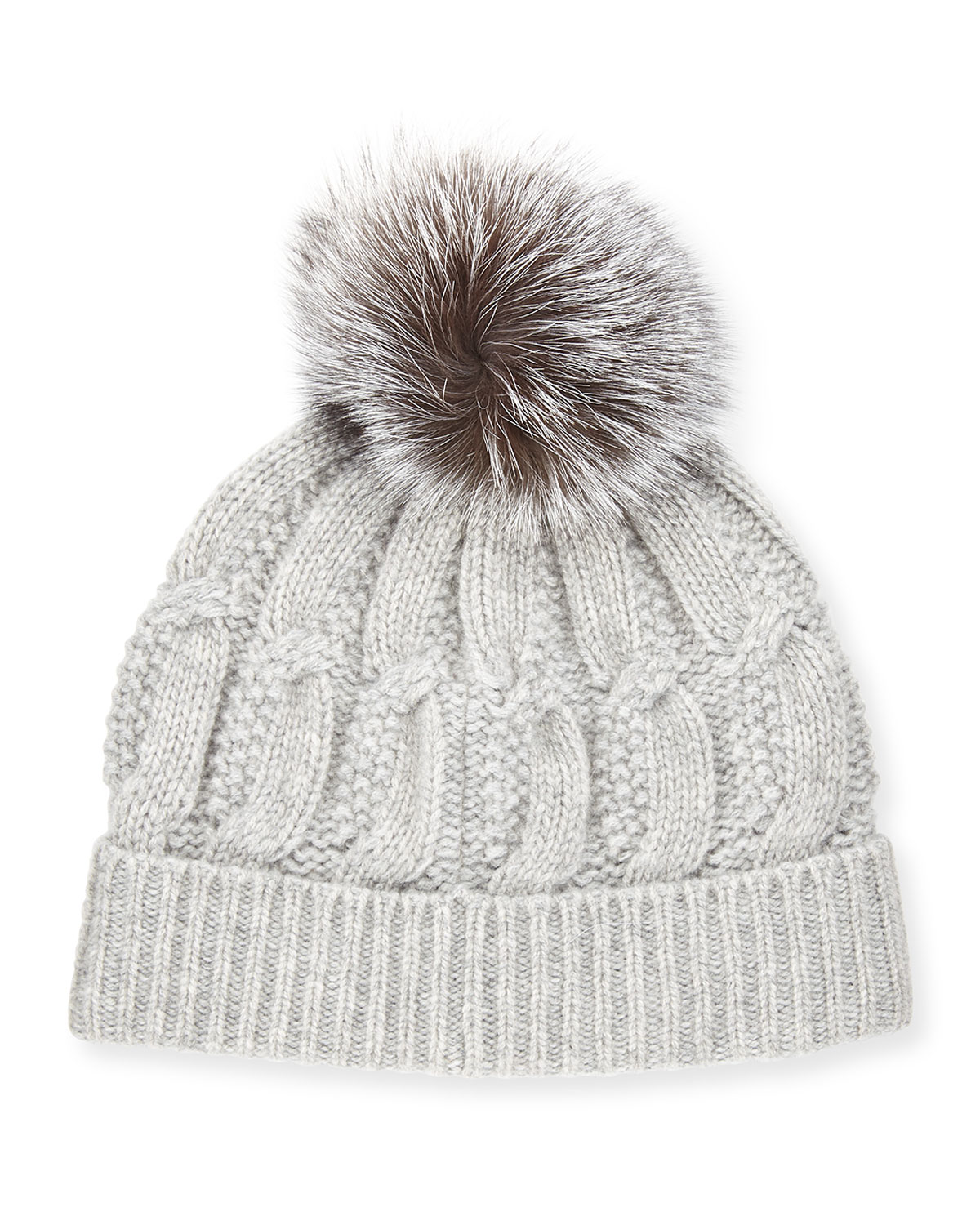 fff617a55 Cable-Knit Cashmere Fur-Pom Beanie Hat, Gray