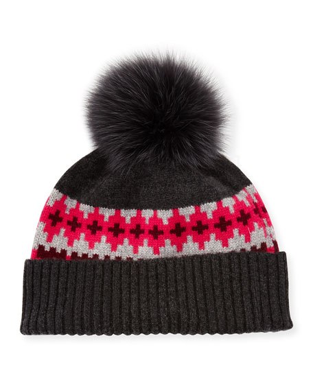 Fair Isle Cashmere Fur-Pom Beanie Hat, Rose