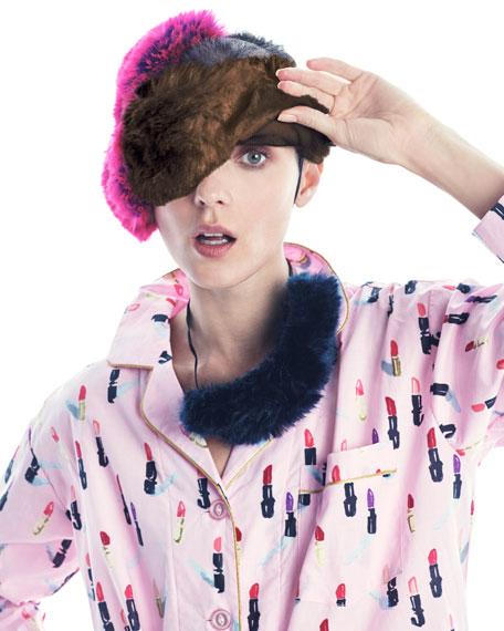 Faux-Fur Eye Mask, Pink