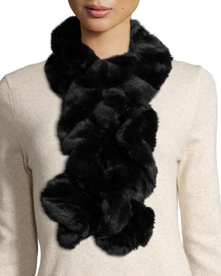 Fabulous Furs Couture Ruffle Faux-Fur Scarf, Onyx