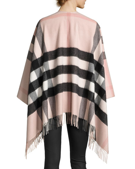 Collette Check Fringe-Trim Cape, Rose