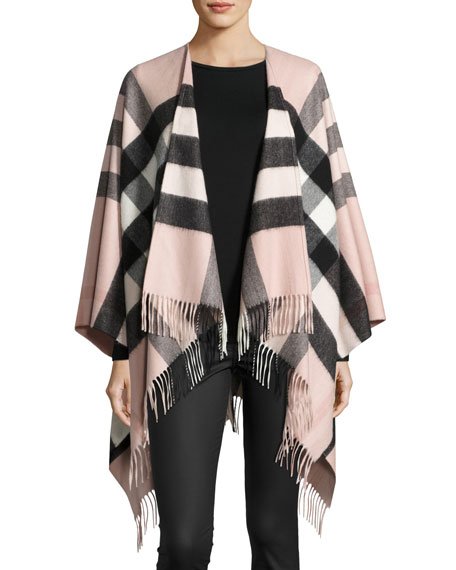 Burberry Collette Check Fringe-Trim Cape, Rose