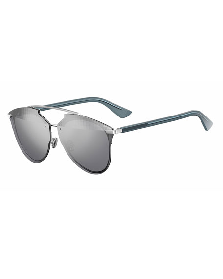 Reflected Prism Aviator Sunglasses, Silver