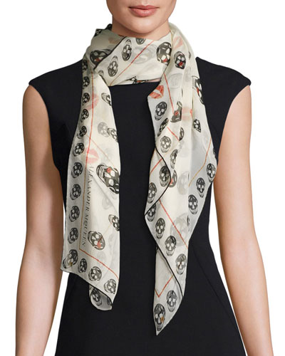 Skulls & Kisses Silk Scarf, White/Black