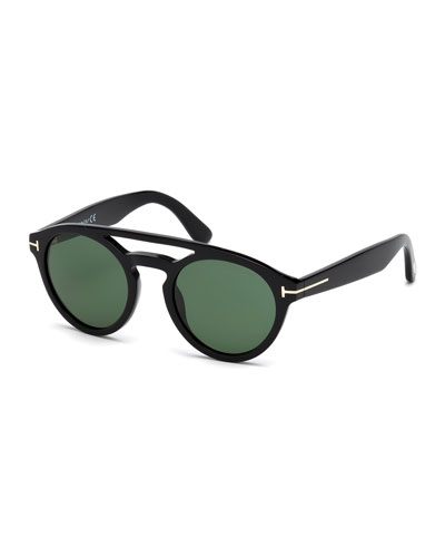 Clint Round Double-Bridge Sunglasses, Black/Green