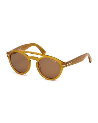Clint Round Double-Bridge Sunglasses, Amber