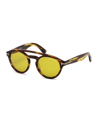 Clint Round Double-Bridge Sunglasses, Brown/Yellow
