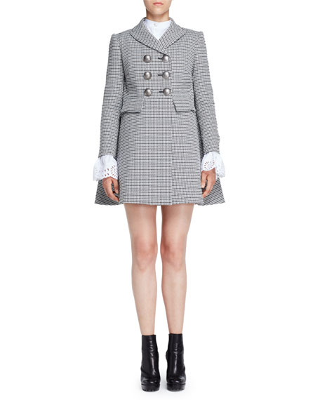 Double-Breasted Houndstooth Coat, Black/White