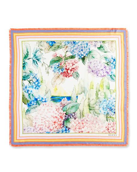 Silk Square Hydrangea Scarf, Multicolor