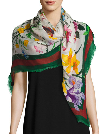 Gucci Flora Web Wool & Silk Shawl, Ivory/Green
