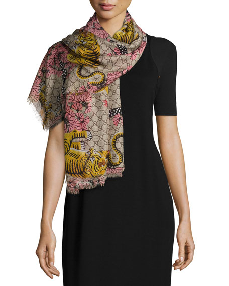 Gucci Voile Bengal GG Square Scarf, Rope/Pink