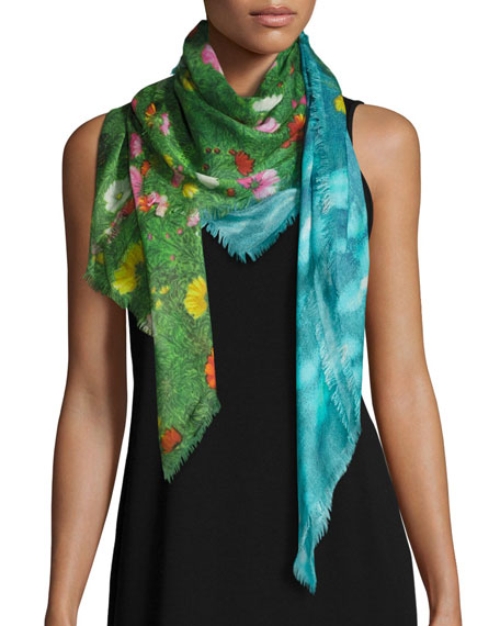 Gucci Garden Flower Silk-Blend Shawl, Blue/Green