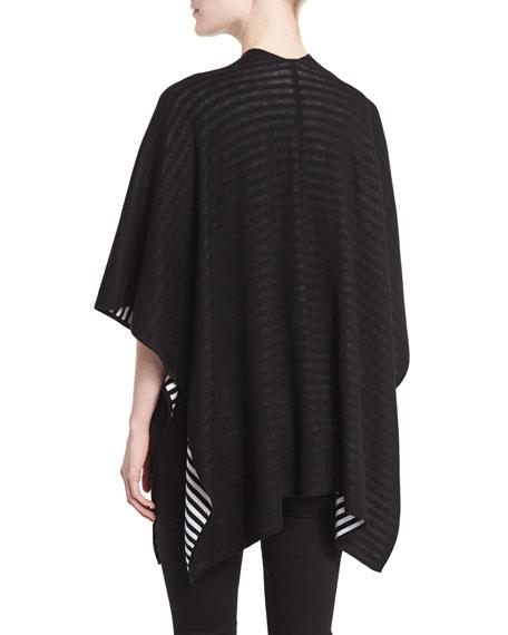 Striped Reversible Cape, Black/White