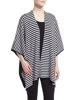 Striped Reversible Cape, Black/White