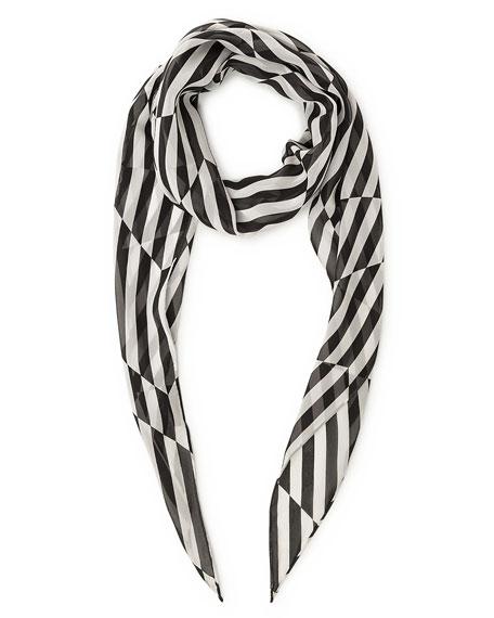 Akris Striped Trapezoid Scarf, Blanco/Black