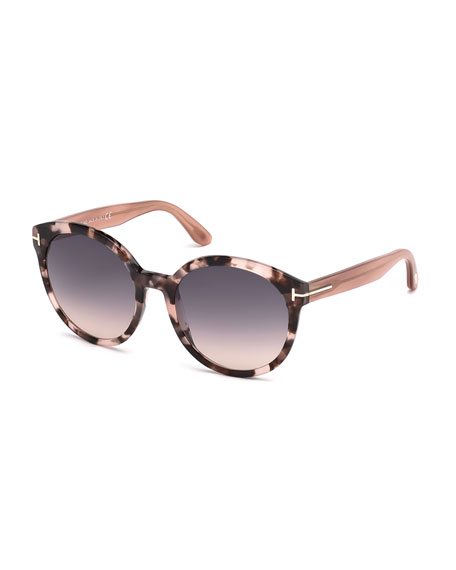 TOM FORD Philippa Two-Tone Round Cat-Eye Sunglasses, Havana