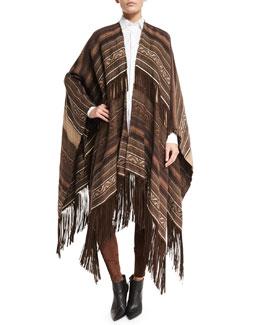 Carlotta Suede-Fringe Linen Blanket Cape, Brown