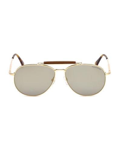 TOM FORD Mirrored Aviator Sunglasses, 62Mm