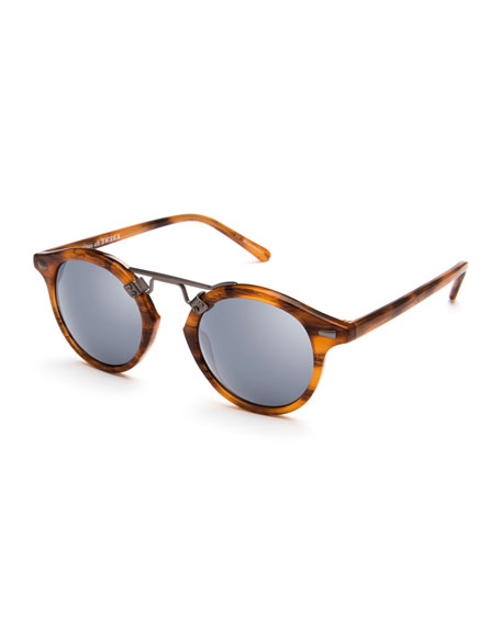 KREWE St. Louis Round Mirrored Sunglasses, Brown