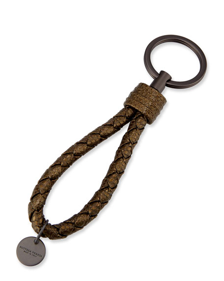 Bottega Veneta Braided Loop Key Ring, Silver